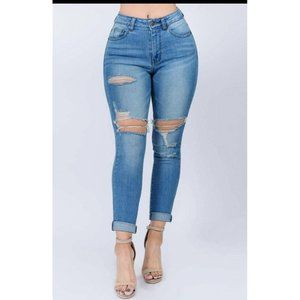 Becca High Waist Roll Up Skinny Jeans (Sizes up to